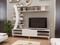 Renwick Entertainment Center for TVs up to 50 inches – Tv unit decor – Welcome The Tv Units Tv Unit Furniture, Living Room Tv, Tv Wall Decor, White Tv Unit, Living Room Tv Unit, Wall Unit Designs, Living Room Tv Stand, Living Room Entertainment Center, Tv Room Design