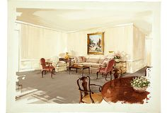 Presentation drawing by Parish-Hadley staff of a sitting room. Gouache and watercolor on board.