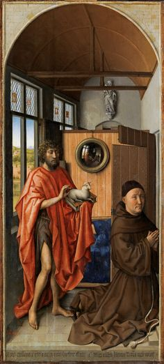 """Saint John the Baptist and the Franciscan Heinrich von Werl / San Juan Bautista y el maestro franciscano Enrique de Werl // 1438 // Robert Campin // An inscription in gothic letters identifies the sitter and dates the work: """"In the year 1438, I painted this effigy of Master Heinrich von Werl, Doctor of Cologne"""". A Provincial of the Franciscan Order in that German city beginning in 1432, Werl was full Professor of Theology and quite a famous preacher."""