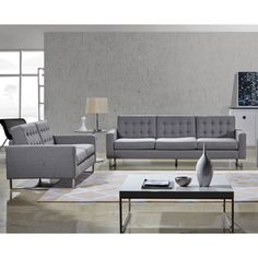 Angela Grey Fabric Modern Sofa and Loveseat Set - Overstock™ Shopping - Big Discounts on Living Room Sets