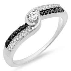 0.26 Carat (ctw) Sterling Silver White and Black Diamond Ladies Swirl Twisted Promise Bridal Ring 1/4 CT * Special  product just for you. See it now! : Promise Rings Jewelry