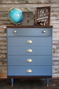 Dresser Makeover - love the detail of the map knobs!