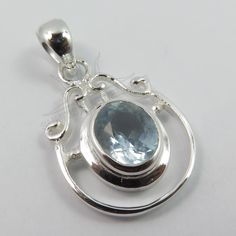 925 Sterling Silver Small Lovely Unique Pendant Natural BLUE TOPAZ Gemstone NEW #SunriseJewellers #Pendant