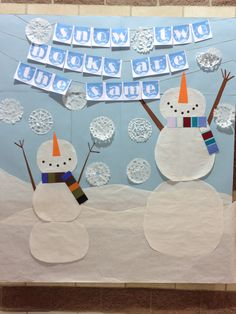Large winter bulletin board for the library. I do love snowmen. @CCHS Library