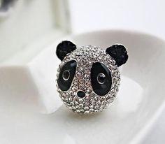 rhinestone panda animal cocktail ring