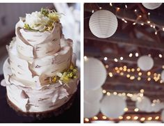 birch bark wedding cake - love this cake!! It actually looks like the birch trees at camp <3
