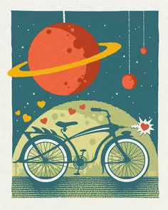 She Broke My Heart So I Pedaled To Mars poster by Cricket Press