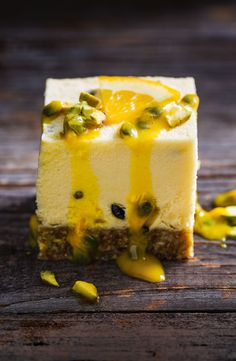 These low-cal passionfruit bars will have you coming back for more, time and again. They're easy to make, have a delicious nutty base and will satisfy the sweetest craving. Raw Desserts, Gluten Free Desserts, Delicious Desserts, Yummy Food, Health Desserts, Raw Food Recipes, Baking Recipes, Sweet Recipes, Cake Recipes