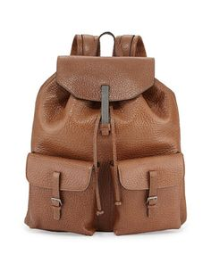 Distressed+Shiny+Leather+Backpack+by+Brunello+Cucinelli+at+Bergdorf+Goodman.