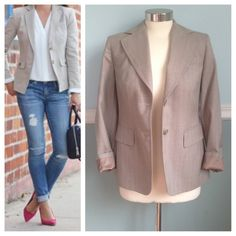 LOFT beige blazer Great blazer for work or to wear casually! Only worn a few times. Beige with very thin stripe in cream and pink. 99% wool - Dry Clean Only. Size 2 petite. First photo on left is not actual item* just showing for style! BUNDLES 20% OFF LOFT Jackets & Coats Blazers