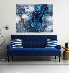 A visual guide in incorporating abstract art in modern interiors, featuring contemporary British painter Jessica Zoob. Sitting Room Decor, Blue Living Room Decor, Home Decor Bedroom, Interior Blogs, Decor Interior Design, Therapy Office Decor, Modern Wall Decor, Home Decor Inspiration, Painting Inspiration