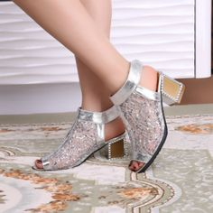 Womens Shoes Sandals Rhinestone Mesh Net Decor Pump High Heels Velcro PU Leather Summer Shoes Casual Wear T1090Z
