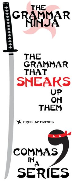Every unit is all ninja, all the time. Ninja jokes, ninja facts, ninja stories. Students will have a riot of a time learning about Commas in a Series! FREE ACTIVITIES by Created for Learning