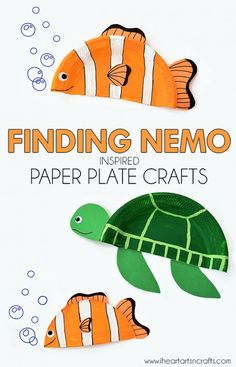 Finding Nemo inspired paper plate craft projects! My two year old would die.