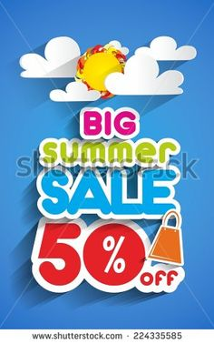 Big Summer Sale With Clouds And Sun vector illustration - stock vector