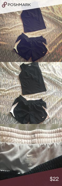 Nike SZ Sml Black Athletic Shorts and Dri-Fit Tank Nike SZ Sml Black Athletic Shorts and Dri-Fit Tank. Shorts have elastic and drawstring, tank is Black performance dri-fit material. Both SZ Small in EUC. Nike Shorts