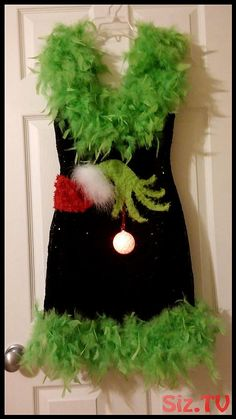 Details about Ugly Christmas Sweater Sequin LED Light S Boa Sexy Dress Feather Low Back, Grinch Christmas Sweater, Grinch Christmas Party, Funny Christmas Sweaters, Christmas Costumes, Diy Ugly Christmas Sweater With Lights, Womens Ugly Christmas Sweater, Fun Christmas Outfits, Grinch Party, Christmas Christmas