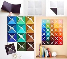 Easy Folded Paper Wall Art diy diy ideas diy crafts do it yourself diy projects wall art diy tutorial wall art crafts Paper Wall Art, Diy Wall Art, Diy Wall Decor, Decor Crafts, Diy Art, Diy And Crafts, Room Decor, Wall Décor, Wall Decorations