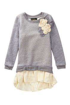 Chiffon Trimmed Sweater Dress - Toddler, Little Girls, & Big Girls