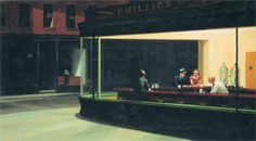 Nighthawks, 1942 by Edward Hopper - oil on canvas. One of the best known images of 20th-century art, the painting depicts an all-night diner in which three customers, all lost in their own thoughts, have congregated. The painting is at the Art Institute of Chicago, Chicago, Illinois.
