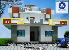 3 bedroom low budget Kerala home design in an area of 1400 square feet by Achahomes from Kerala Village House Design, Kerala House Design, Bungalow House Design, Village Houses, Single Floor House Design, House Front Design, Small House Design, Modern House Design, House Elevation