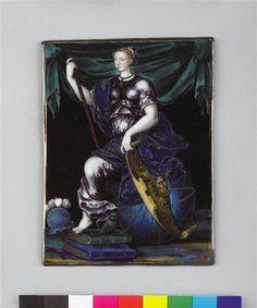 Marguerite de France as Minerva. 1555 ... Inscription: Jehan de Court ma Faict 1555