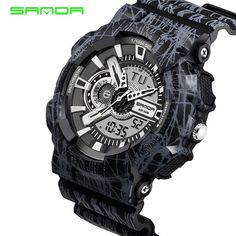 SANDA New Men s Watch Men s Camouflage Digital Watch Men s Sports Watch  Men s S Shock Military Army Reloj Hombre LED Watch a996dd7ab5c3