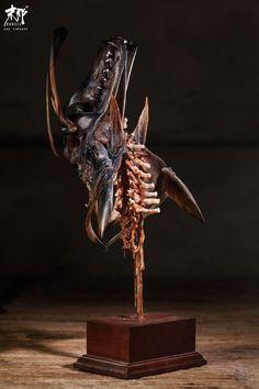 Sculpture Art, Sculptures, Korean Art, Arte Pop, Dark Fantasy Art, Some Ideas, Creature Design, Predator, Samurai