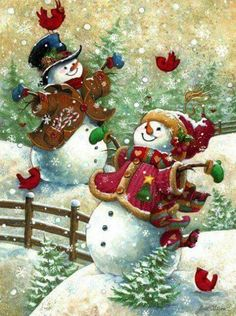 Christmas art, snowman art by renowned painter Janet Stever. Merry Christmas, Christmas Scenes, Vintage Christmas Cards, Christmas Pictures, Christmas Snowman, Winter Christmas, Christmas Holidays, Christmas Crafts, Christmas Decorations