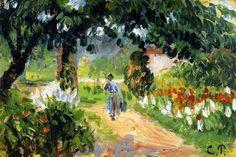 "ART FOR COCKTAIL HOUR Camille Pissarro (1830-1903)  ""L'allée du jardin à Eragny, sketch (1899)"" oil on panel 15.7 x 23.5 cm"