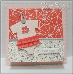 Something for Baby, baby card, Stampin' Up!, Baby's First Framelits, #stampinup, shower card, ruffled onesie, Connie Babbert, www.inkspiredtreasures.com: