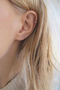 Very Small Studs | Small Silver Studs | Third Piercing Earring | Dot Stud | Tiny Studs | Gold Small Studs | Tiny Gold Studs These tiny studs are perfect for ears that have more than one piercing as theyre small enough to look delicate going up the ear. They are made from either