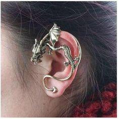 Cercei tip ear cuff, dragon incolacit cu aripi mici, prindere pe ureche - cercei din aliaj, cercei ear cuffs, cercel ear cuff