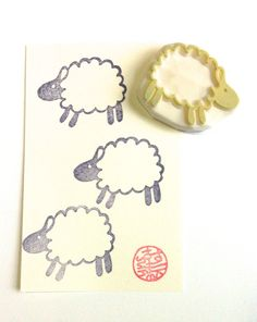 sheep rubber stamp  hand carved rubber stamp  by talktothesun, $10.00
