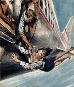 """shear-in-spuh-rey-shuhn: """" WALTER MOLINO """"A Tragedy At Six Thousand Meters"""" Domenica Del Corriere, Sept. 1962 Gouache """""""