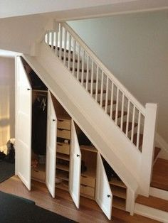 Kast Trap Hal In 2019 Closet Under Stairs Staircase Storage Closet Under Stairs, Space Under Stairs, Under Stairs Cupboard, Hallway Closet, Basement Stairs, Stairs Kitchen, Entryway Stairs, Basement Bathroom, Under Staircase Ideas