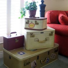 Great Idea!!! For people who decorate with vintage suitcases, but who may want to upgrade the raggedy image (or function ability) of a broken handle! ♥    Vintage Suitcase Repair & Free Digital Download | Just Something I Made