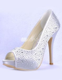 Silver Peep Toe Beading Satin Bridal Wedding Shoes. See More Bridal Shoes at http://www.ourgreatshop.com/Bridal-Shoes-C919.aspx