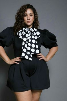 17e16700a1e Short sleeved plus size romper featuring a contrast mock neck polka dot  tie