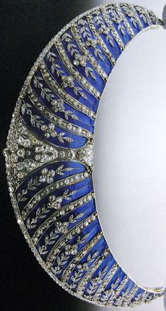Westminster Kokoshnik Tiara. The tiara, originally bought by the 2nd Duke of Westminster in circa 1911, is decorated with trails of 280 brilliant-cut diamonds forget-me-not flowers seen against a background of blue plique-a-jour enamel and set in platinum by Chaumet. It left the family for a time before the current 6th duke reacquired it.