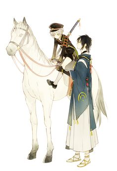 Hotarumaru, I think that horse is a littleeeee biiiiiit high for ya to ride =)) Dark Anime Guys, Anime Love, Anime Style, Best Anime Drawings, Touken Ranbu Characters, Yuri, Guy Drawing, Manga Illustration, Manga Comics