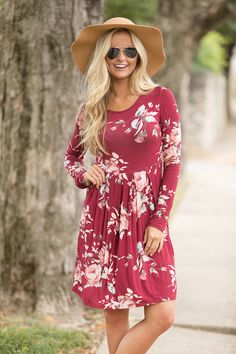 51c38217361e All Of Our Days Floral Dress Burgundy - The Pink Lily Pink Lily Boutique