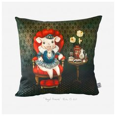 Royal Princess throw pillow cover - Lithuanian artist Rūta Dumalakaitė just released a set of original throw pillow covers digitally printed with her artwork. Every piece holds an inside story. Hidden dreams, feelings left behind, the power of imagination, the magic of nature, and things that we forget or fail to notice. $35 !!