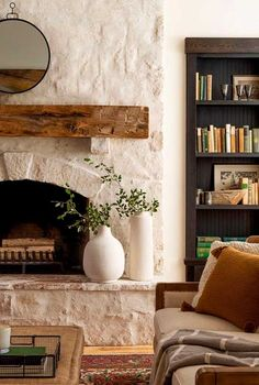 Home Fireplace, Fireplace Remodel, Fireplace Design, Fireplace Ideas, Cottage Fireplace, Limestone Fireplace, Whitewash Stone Fireplace, Painted Stone Fireplace, Stone Fireplace Makeover