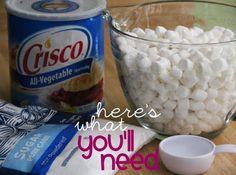 Marshmellow Fondant  8 cups mini marshmallows  Vegetable shortening  1/4 cup water  2 lbs powdered sugar