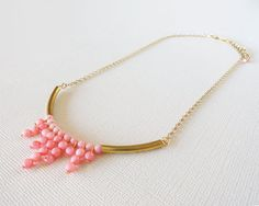 Pink Necklace Beaded Necklace Pink Everyday Necklace by bakkal