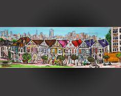 tableau peinture originale urbaine au pastel maisons victoriennes San Francisco by Celinemodernart sur Etsy