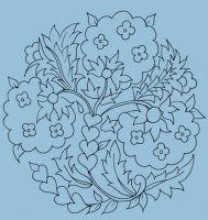 That's interesting, lends itself to lattice filling on those big flowers with satin stitch mini flowers Cute Embroidery Patterns, Embroidery Transfers, Crewel Embroidery, Hand Embroidery Designs, Outline Drawings, Cute Drawings, Turkish Art, Hand Applique, Doodle Patterns
