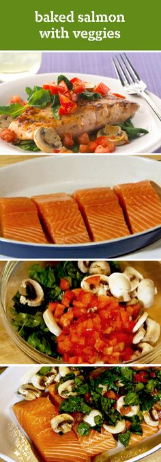 Baked Salmon with Veggies – Learn how to make this flavorful seafood recipe with its topping of fresh tomatoes, spinach, and sliced mushrooms. Plus, it's ready for your dinner table in just 35 minutes.