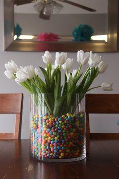 Jellybean flowers - smaller vase inside the big vase